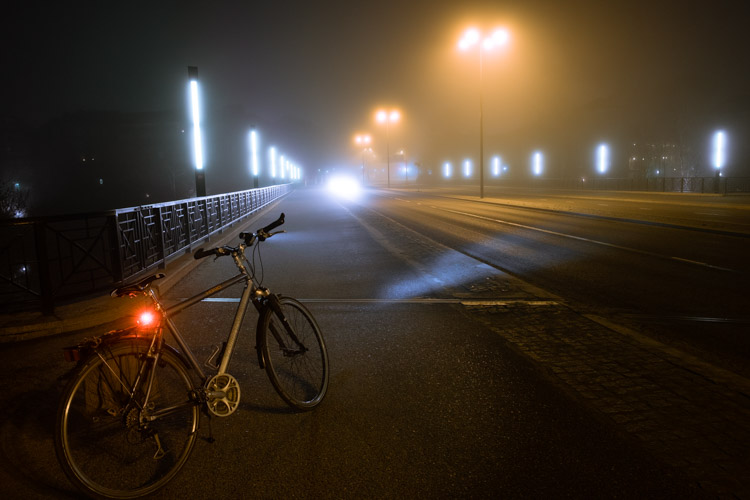 bicycle, fog, highway