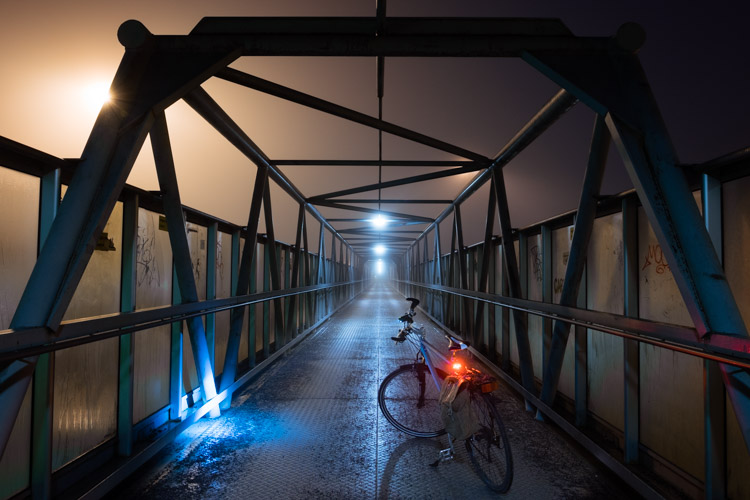 bicycle in fog